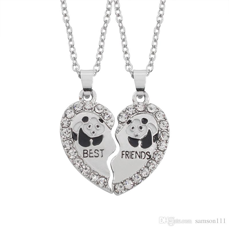Wholesale Broken Heart 2 Parts Pendant Best Friend Panda Necklace ...