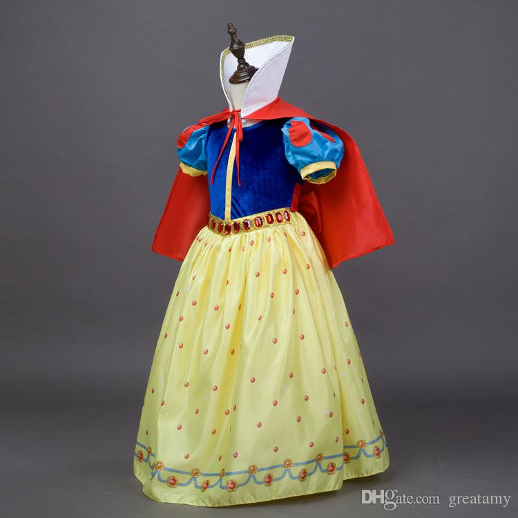 Children Girls Snow White Princess Dresses With Cape Kids Party Ball Gown Long Cosplay Dancewear Christmas Halloween Clothing