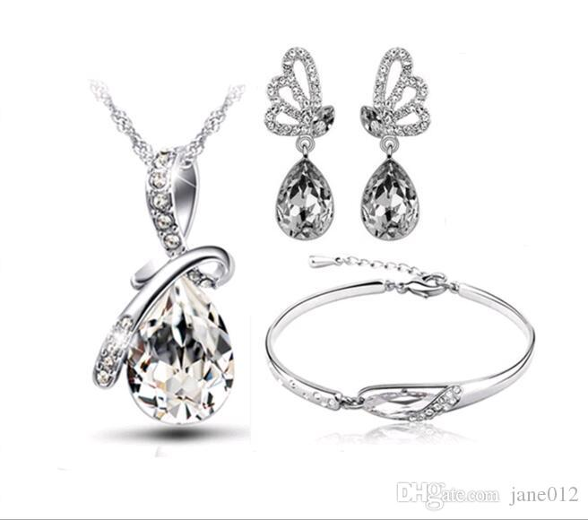 Hot Austria Crystal Necklace/Earrings/Bracelet Jewelry sets Three Pieces Angel Tears Glass Shoe Jewellery Sets for New year