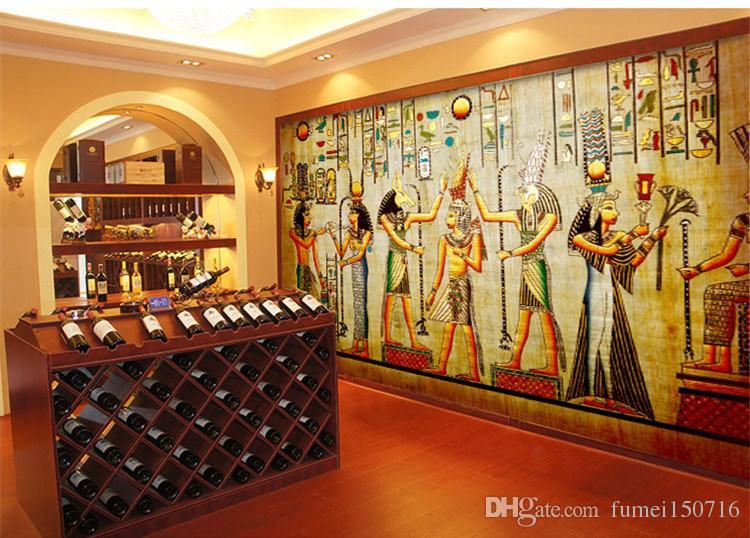 Wholesale-Фреска-3d обои декора дома Фото обоев фон древнеегипетская цивилизация майя старейшины отель большая стена искусство росписи