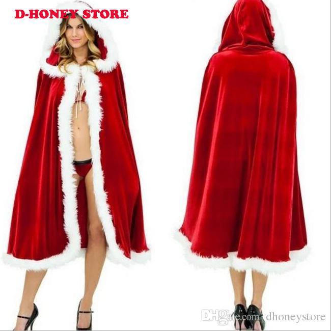 Red Velvet Frauen Weihnachten Kapuzenumhang Umhang 2016 Little Red Riding Lange Braut Wraps Jacke Winter Warme Weihnachten Wraps Mäntel