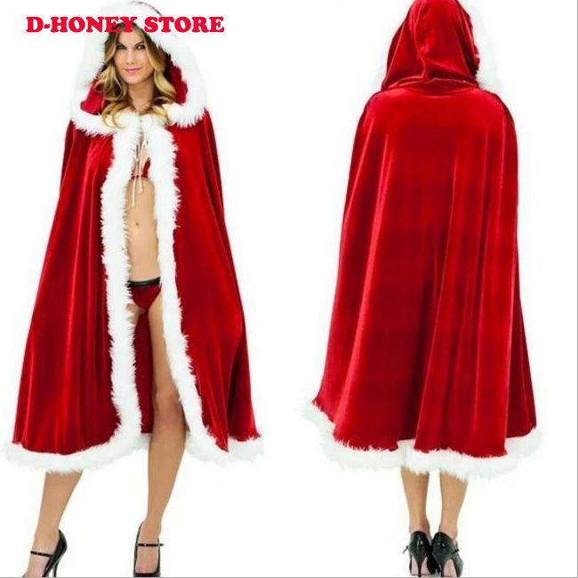 Red Velvet Women Christmas Hooded Mantello del mantello 2016 Little Red Riding Long Wraps Jacket Winter Warm Christmas Wraps Cloaks
