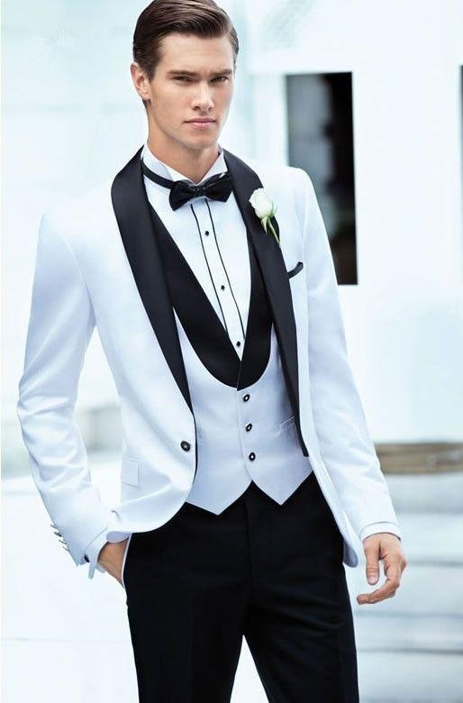 2018 Tuxedo Skinny Groom Wedding Suits Dress Mens SuitsBlazer+ ...