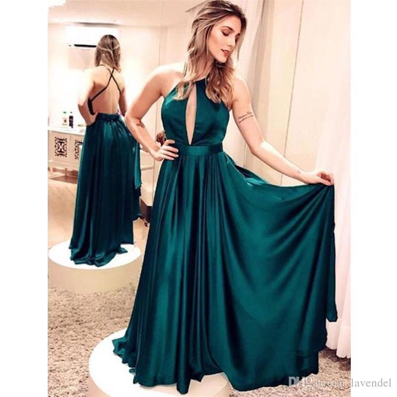9bee8875c69 Dark Green Satin A Line Evening Gowns Halter Off Shoulder Backless Floor  Length Formal Evening Dresses Vestido De Noite Evening Dress Shop Evening  Dresses ...