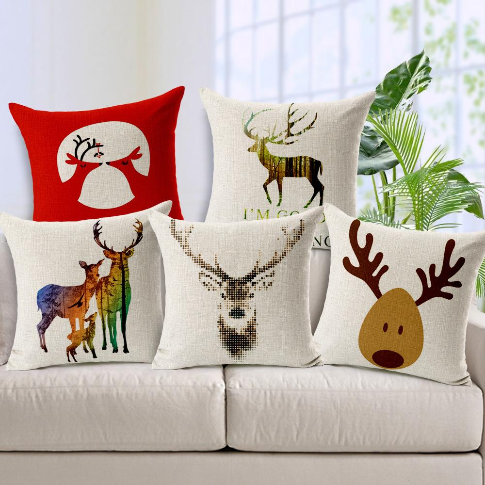 2016 New Year Christmas Reindeer Cushion Covers Linen