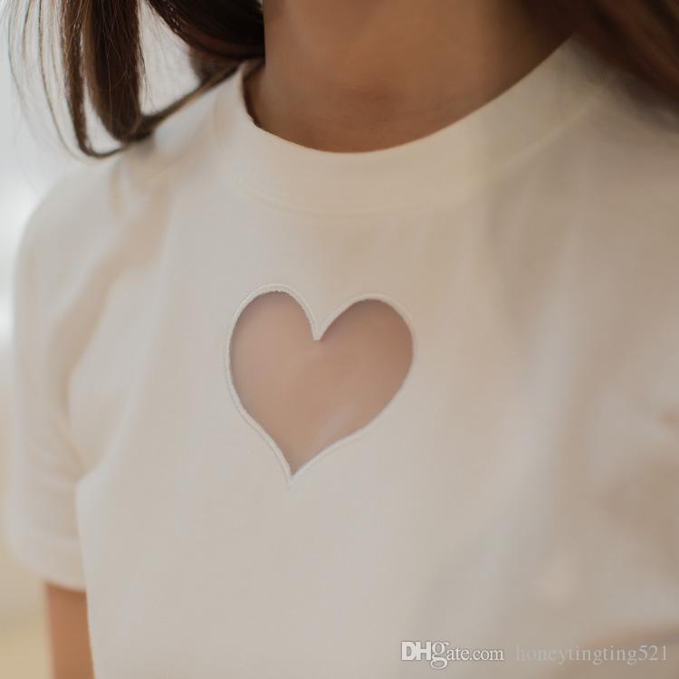 Summer fashion women's new ulzzang harajuku o-neck short sleeve love heart hollow out gauze perspective sext cotton t-shirt MLXLXXL