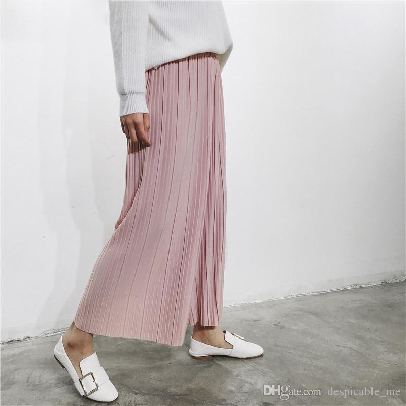 841bc1e6317 2019 2017 New Spring Korean High Waist Pleated Loose Women S Casual Pants  Nine Points Chiffon Wide Leg Pants Trousers From Despicable me