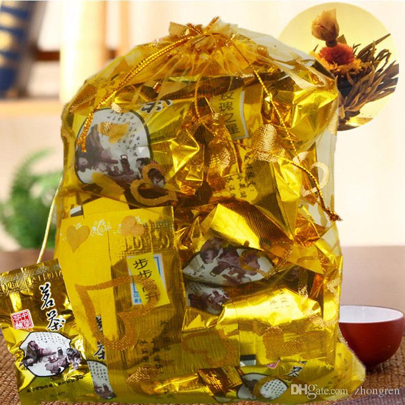 16 sortes de thé de fleurs épanouies thé chinois boules de fleurs artisanat à base de plantes fleurs dans les petits sacs cadeaux de thé sous vide