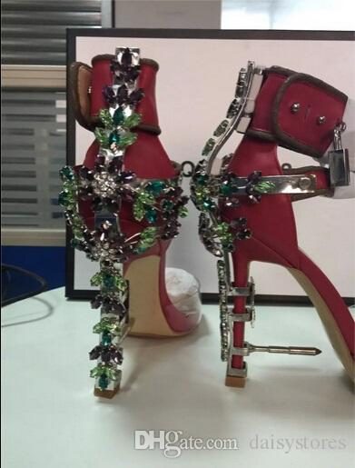 Summer Luxury Strange Heel Crystal Designer Shoes Woman PVC High Heel Sandals 2016 Padlock Ankle Strap Rhinestone Sandals