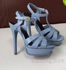 New Tribute Patent / Sandali con plateau in morbida pelle Scarpe da donna T-strap Sandali con tacchi alti Scarpe da donna Décolleté in pelle originale