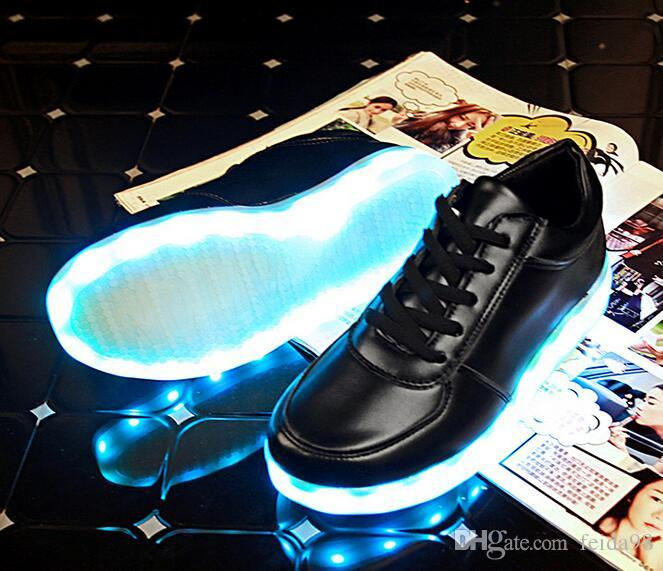 7 couleurs lumineuses chaussures unisexe led glow chaussure hommes femmes mode USB rechargeable lumière led chaussures pour adultes led chaussures