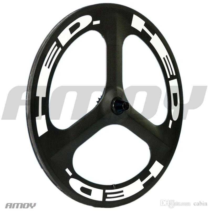Factory Price new 700c carbon tri spoke wheelset track bike wheels or road bicycle carbon 3 spokes with HED painting