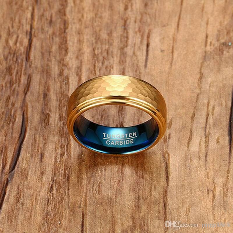 Nuovo design moda placcato oro uomo donna donna primavera anelli in acciaio al tungsteno anelli 3D cool semplici anelli in carburo di tungsteno gioielli da uomo