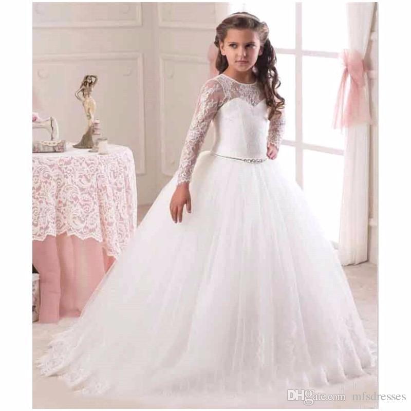 4cab4a0402 2017 Princess Girl Dresses Girls Puffy First Communion Dress Lace Ball Gown  Long Flower Girl Dresses With Sleeves.Flower Girl Dresses Baby Pageant  Dresses ...