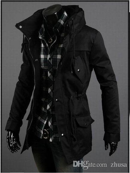 Capa larga de alta calidad de mezcla del foso del hombro de la cintura gabardina hombres libres del envío con el lazo