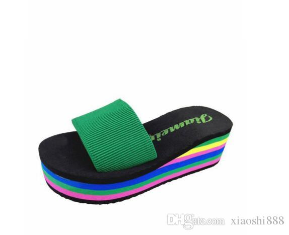 Summer home high-heeled cooler slippers female thick bottom slope with clip feet slippers female summer skate beach shoes female
