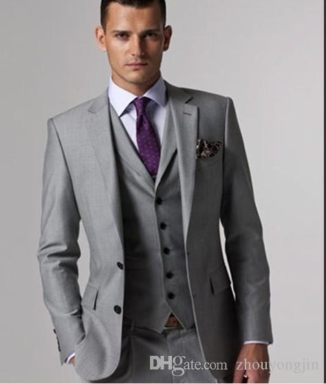 2017 Italian Luxury Mens Grey Suits Jacket Pants Formal Dress Men ...