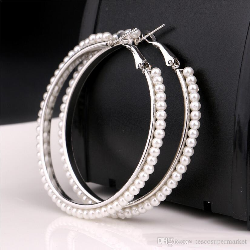 Luxury designers pearl shop 18 k gold plated hoop earrings 5 centimeters of fashionable women jewelry, wedding party