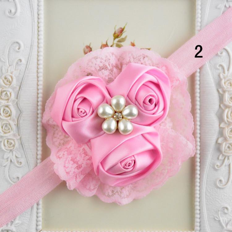 Rose Bud Girl Hair Band Fashion Chiffon Flower Hair Accessories Lace And Pearl Rhinestone Baby Hair Band FD61