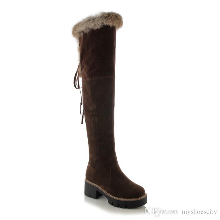 Tallas grandes 34 a 40 41 42 43 ViVi Lena Espesar botas de piel de conejo sobre la rodilla Botas de invierno para mujeres