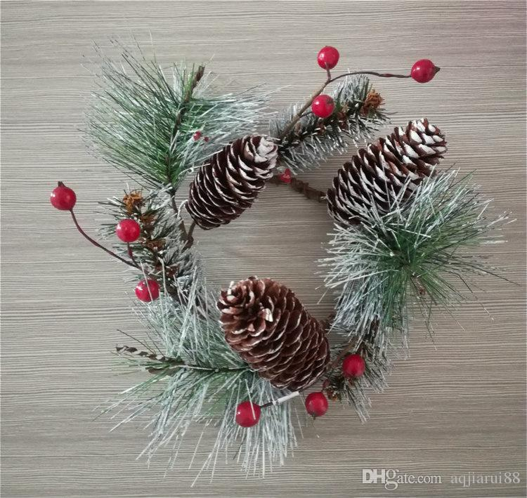 Christmas Candle Rings.2018 Wholesale Factory Outlet Candle Rings 3 Inch Inner Diameter Frosted Needle Pine Candle Wreath Xmas Decoration