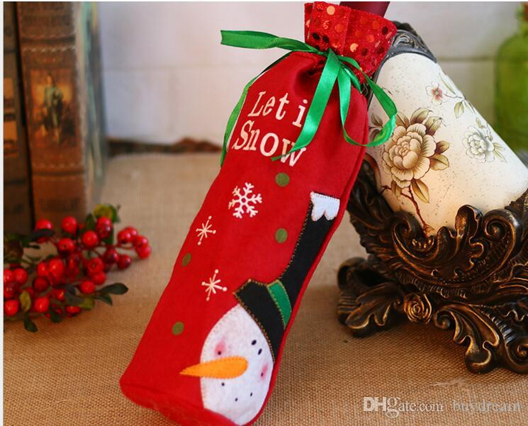 DHL freeshipping Tie Wine Bottle Cover Bags For Christmas Decorations Kids Gift Merry Christmas Bar Tools Best Gift for Xmas Bar 2017 new