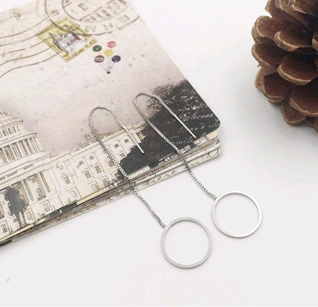 Nuevo estilo simple cuelga los pendientes de cadena borla triángulo círculo cuadrado perforado orejas ganchos de joyería de plata mezcla
