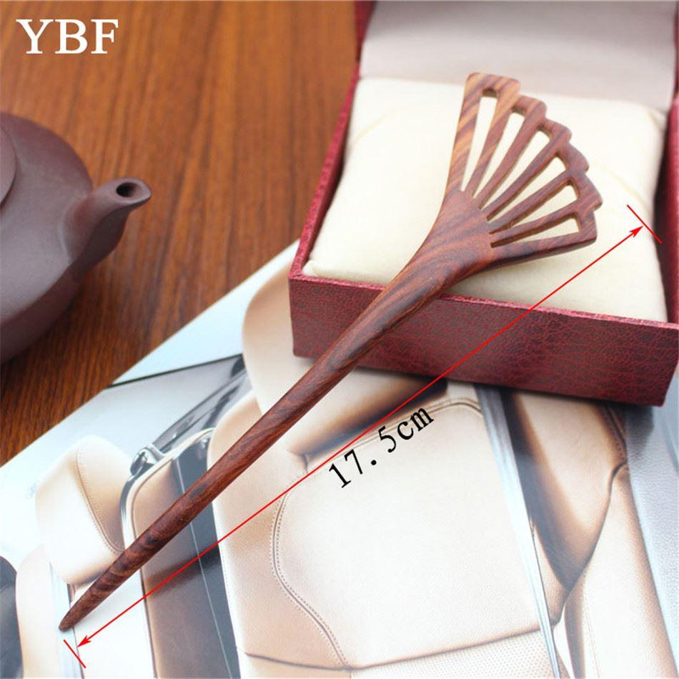 YBF Hairwear Red sandalwood Sticks Feather fan Pins Accessories Fashion Hair Styling Women Clip Hairbands Stick Winter Style