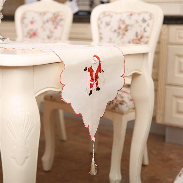 Chemin de table en satin pour la décoration de vacances de mariage de Noël Favor faveur nappe de Noël 40 * 170cm Table de dîner de Noël décoration