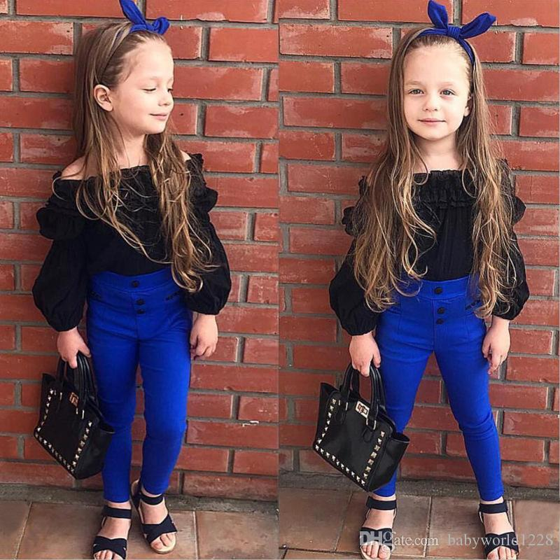 0bbb252ff0b31 Kids Girls Ruffle Outfits Clothes Off Shoulder Black Tops +long Pants  Outfits Set Clothes Girls Suit Kids Clothing Girls Outfits Clothes Online  with ...