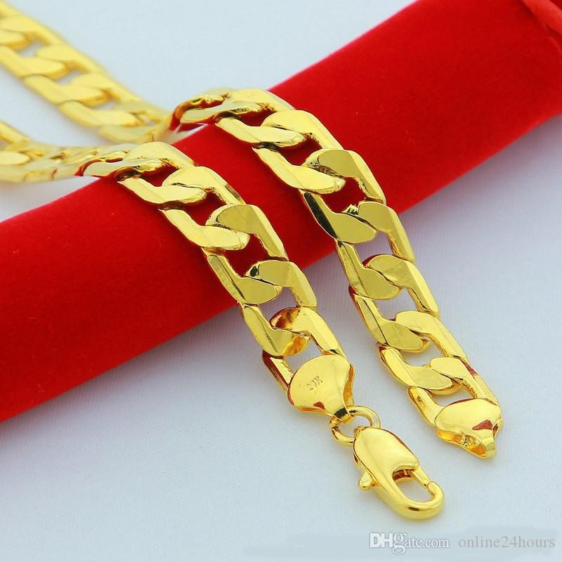 f1c7af7767c Width 6MM 24INCH Optional Bad MENS Boys Necklace Hip Pop Curb Chain Bulk  Sale Yellow 24K Gold Filled Necklace Party Daily Wear