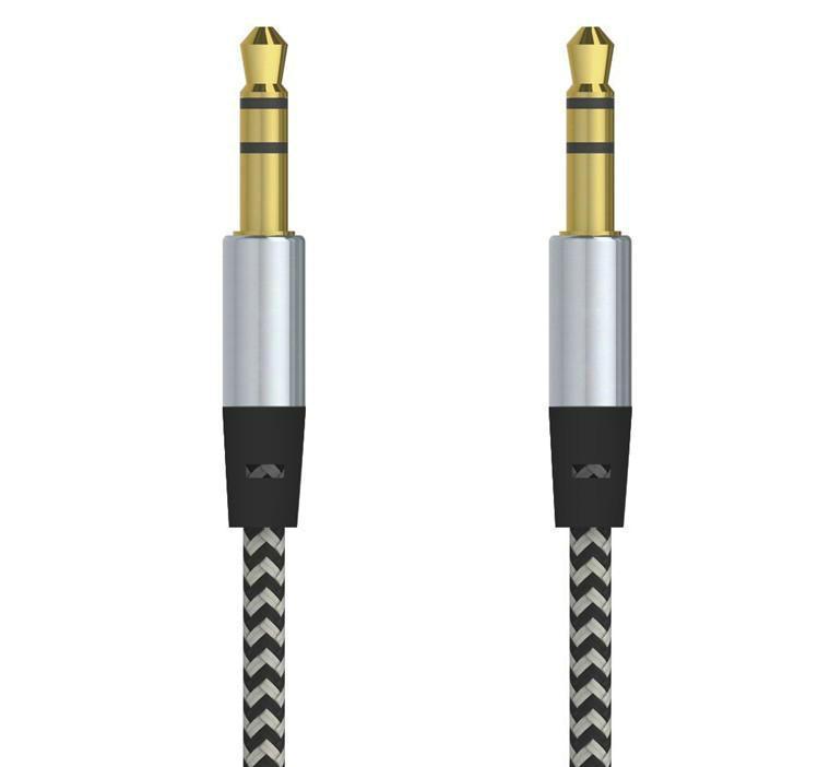車のオーディオAUXの伸張ケーブルナイロン編組3FT 1M有線の補助ステレオジャック3.5mmのオスのリードMP3携帯電話スピーカーOM-I5