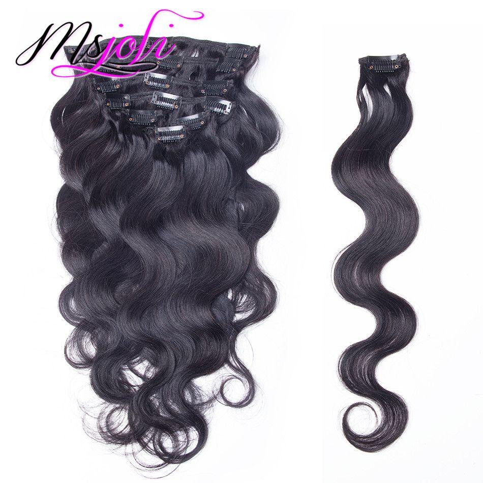 Brasiliano Body Wave Bodysian Virgin Virgin Hair Capelli 120 g clip in prolunga testa piena colore naturale / 12-28 pollici da MS Joli