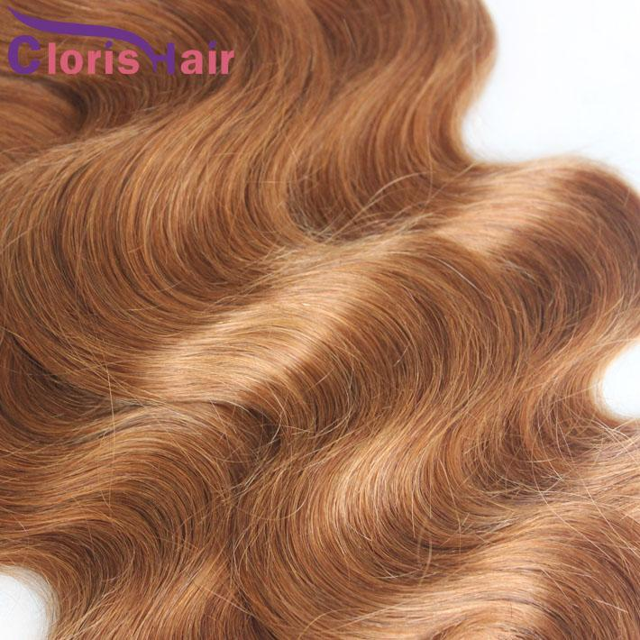 Charming Körper-Wellen-brasilianische Webart-Bundles # 30 Medium Auburn Jungfrau-Menschenhaar-Verlängerungen Günstige Blonde Bresilienne Wellig Weaving Angebote