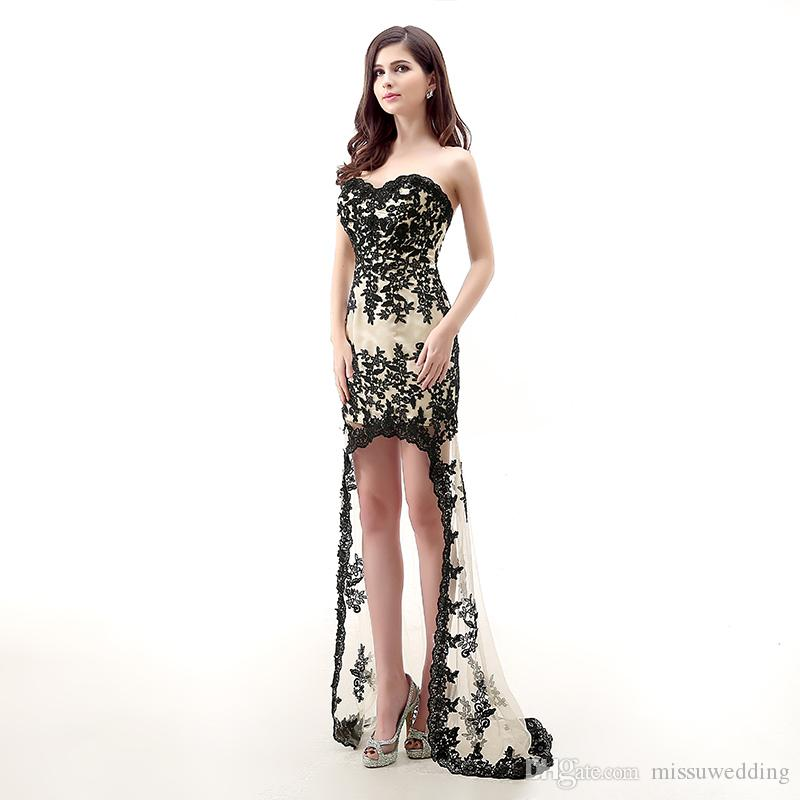Real Model Photos Black Lace Appliques Sweetheart High Low Prom ...