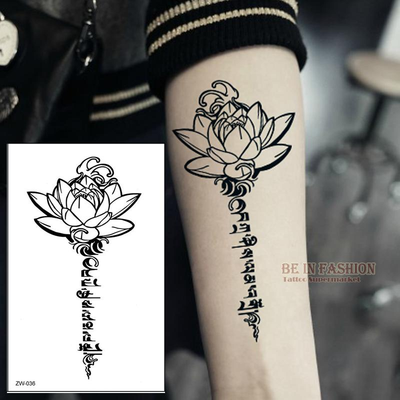 wholesale buddha lotus designs temporary tattoo letters sanskrit tibetan word tattoos back henna leg waist arm shoulder waterproof zw036 body tattoos design
