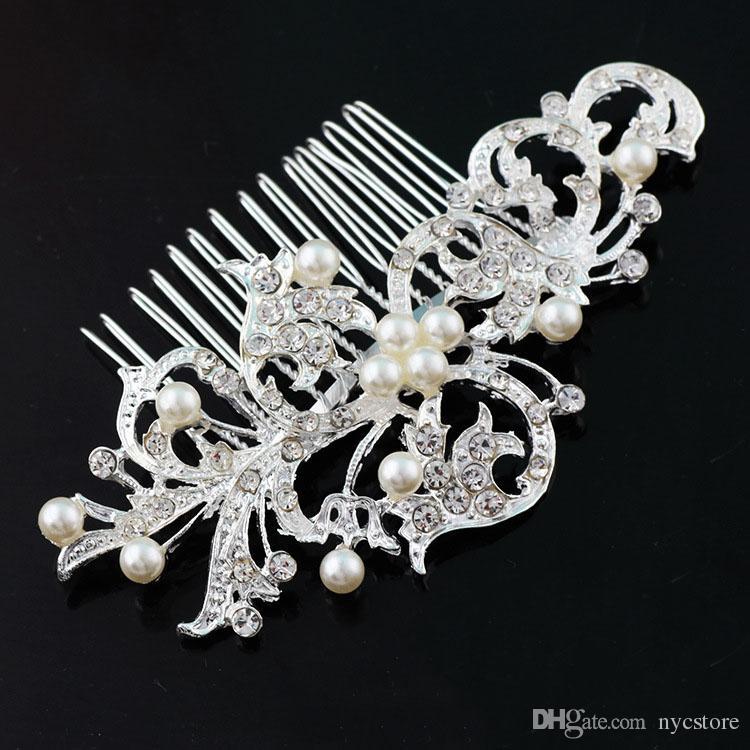 Boda nupcial Tiaras Impresionante Fino Peine Nupcial tocados Accesorios de joyería Cristal Perla Cepillo de pelo utterfly horquilla para la novia
