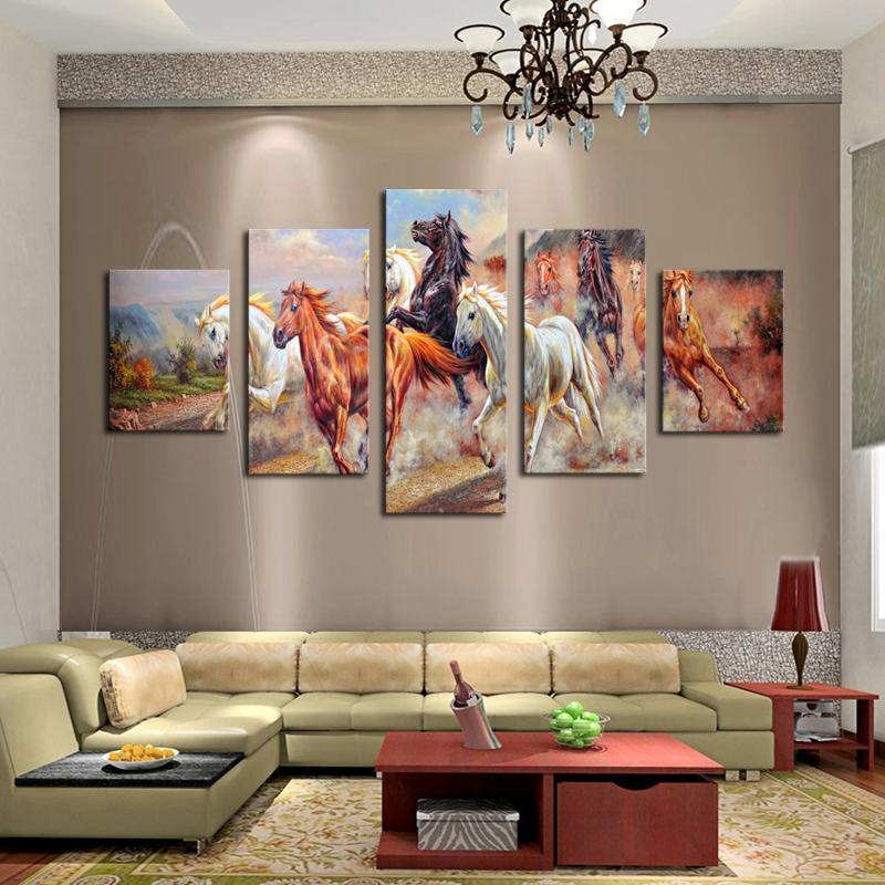 Canvas print painting modern running horse canvas wall art for wall decor for living room home decoration artwork online with 45 45 piece on samwu333s