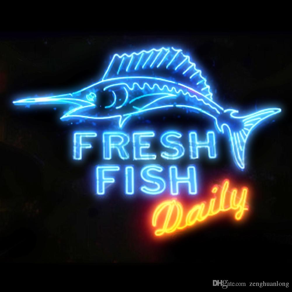 Fashion New Handcraft Fresh Fish Daily Real Glass Tubes Beer Bar Pub Display neon sign 19x15!!!Best Offer!