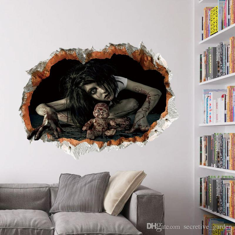 Halloween Ghost 3D Wall Stickers 4 styles Bedroom Living Party Room DIY Cartoon Decoration Waterproof Stickers
