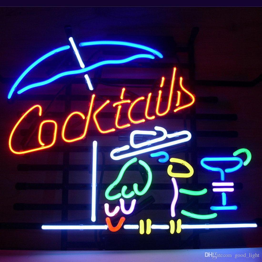 "COCKTAIL PARROT COCKTAILS Neon Light Sign Beer Bar Pub Club Shop Display 17""x14"""
