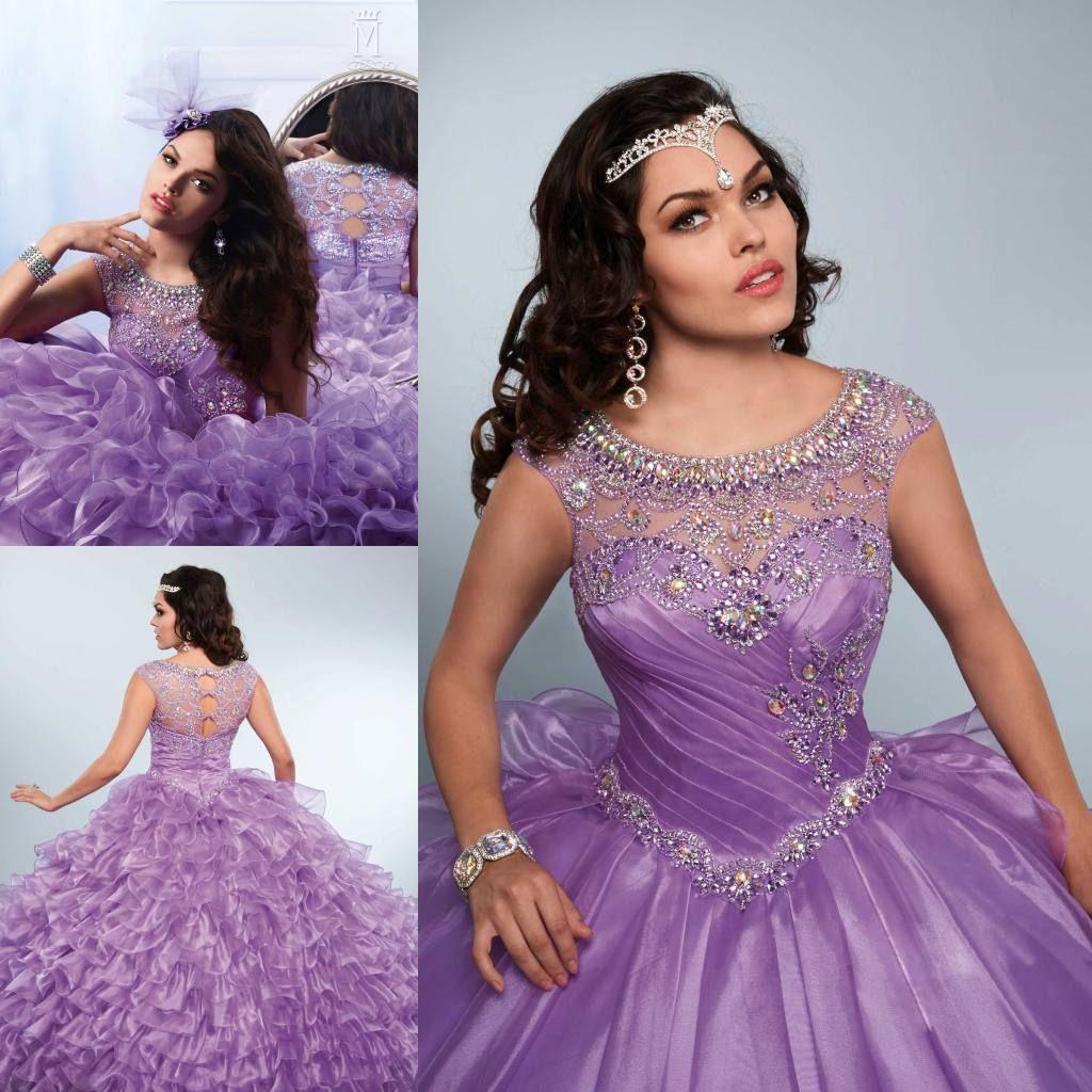 1d85e4c62e8 2018 Lavender Crystals Ball Gown Quinceanera Dresses Sheer Jewel Neckline  Beaded Prom Gowns Cascading Ruffles Organza Sweet 16 Dress Shop Dress Shop  For ...
