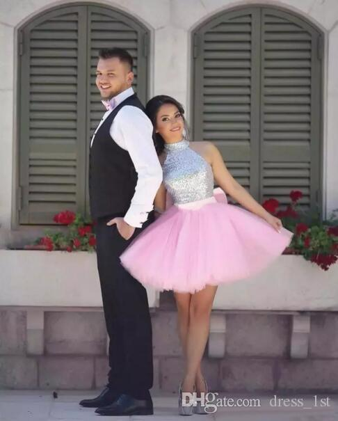 New 2017 Silver Sequined Top Pink Tulle Ball Gown Short Prom Dresses Cheap Bow Sash Minin Party Gowns Custom Made China EN9017