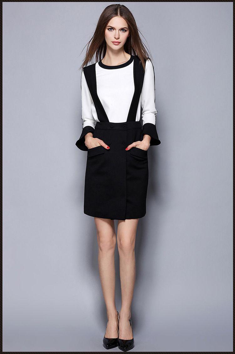 eae4c00bd4ca Womens Sets Autumn Winter Black White Two Set Women O Neck 2016 New ...