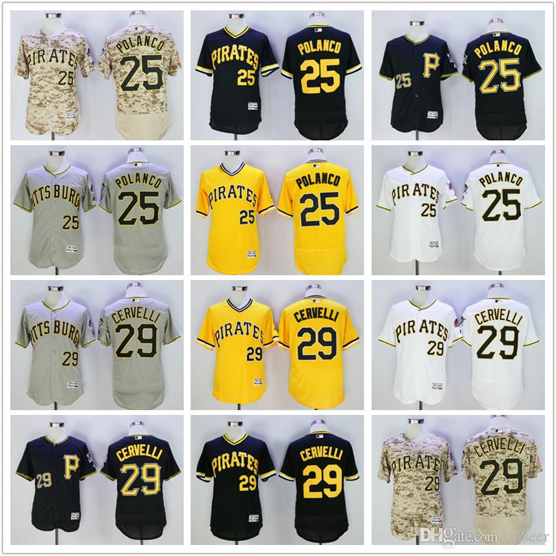 c4197c698 ... switzerland 2018 mens 25 gregory polanco pittsburgh pirates jersey 29  francisco cervelli black white camo flex