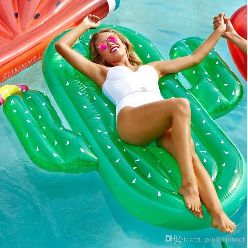 Adults Giant Pool Float Inflatable Cactus Floating Mattress Lounger Water Sport Buoy Beach Toys Fun Raft