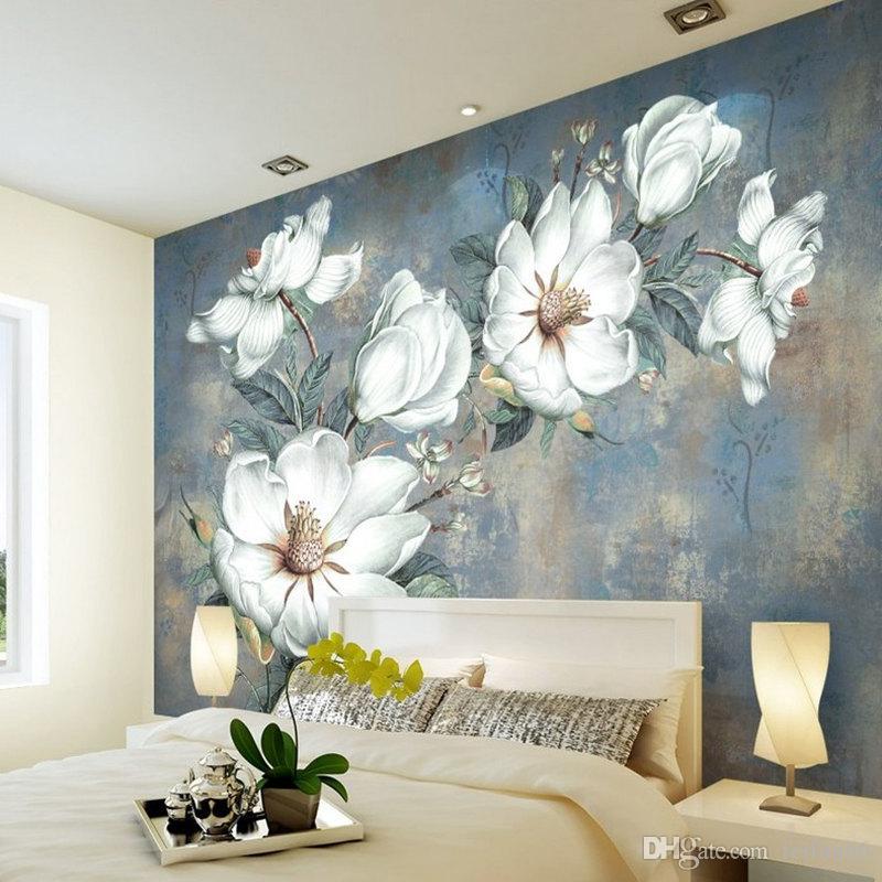 Grosshandel Benutzerdefinierte Blumen Tapete 3d Retro Rose