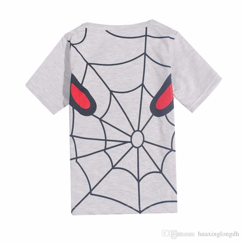 Spiderman Super Hero New Lovely printting Baby Kids Boys Cartoon Tops T-shirt summer children's Short Sleeve clothing Age 2-6Y