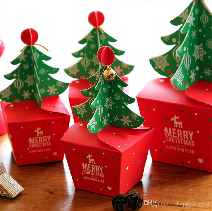 3D Christmas tree Gift Box with Bell DIY Cookie Cholocate Food Paper Boxes 30pcs/lot Merry Christmas Paper Candy Box Apple Packaging