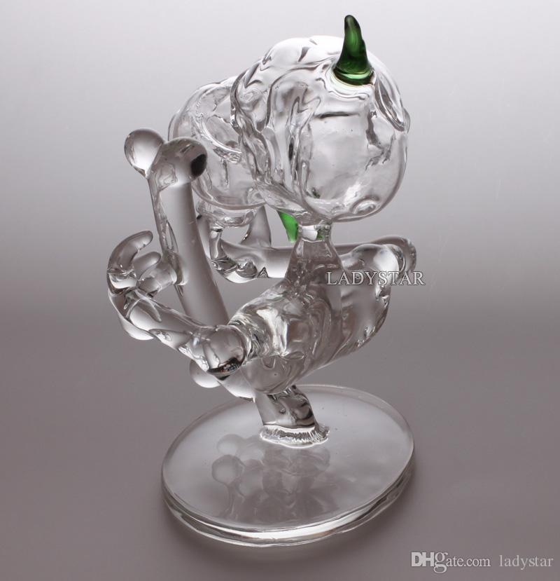 Nuevo Mini Heady Glass Bong the Alien Smoking Glass Pipes de agua Hookah Glass Base Dab Rigs Bubbler Concentrado reciclador plataformas petroleras bongs L189